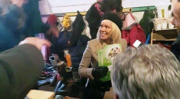Pamela Anderson visits Dunkirk refugee camp