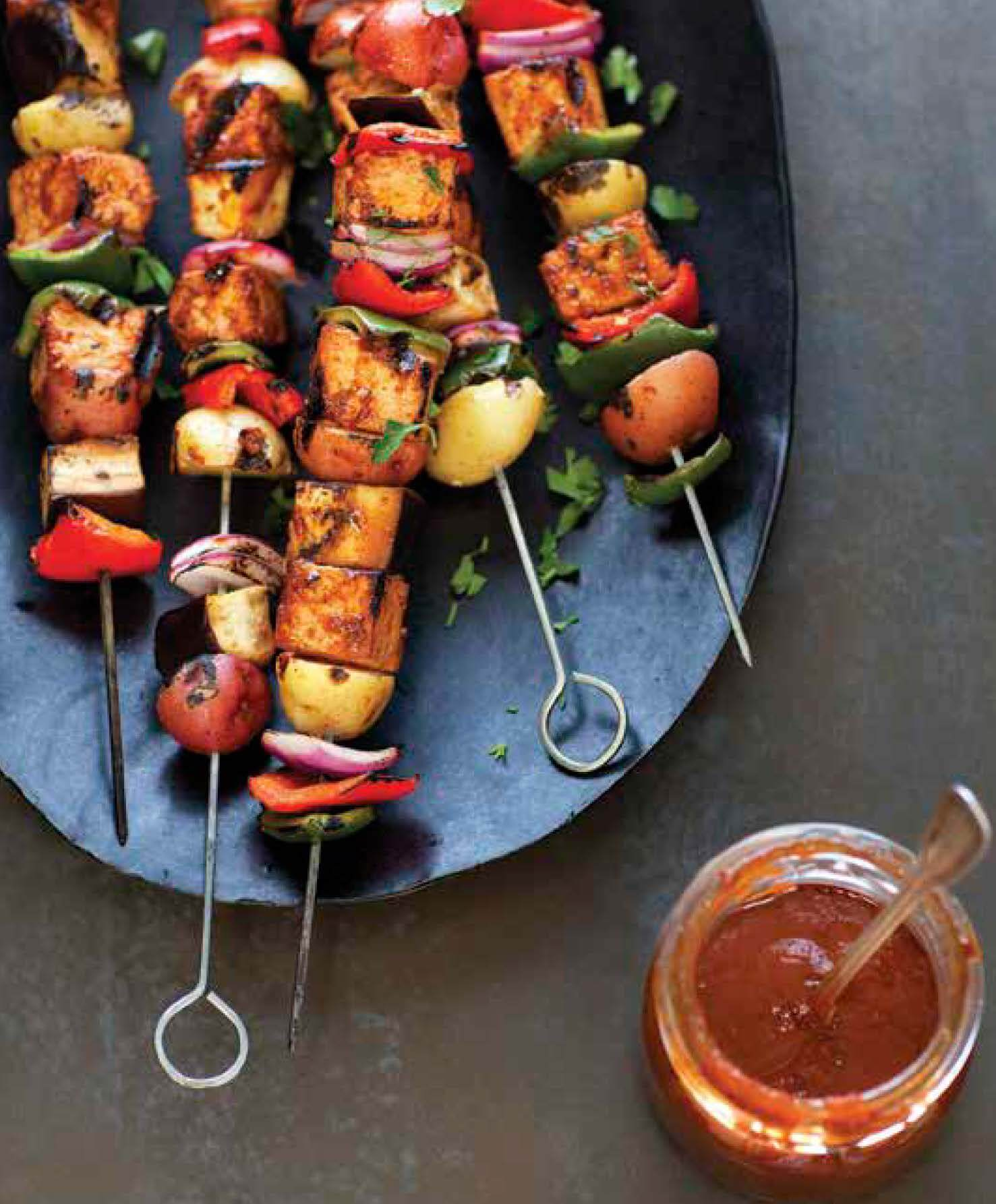 Summer Vegetable and Tofu Kebabs with Pomegranate-Peach Barbecue Sauce