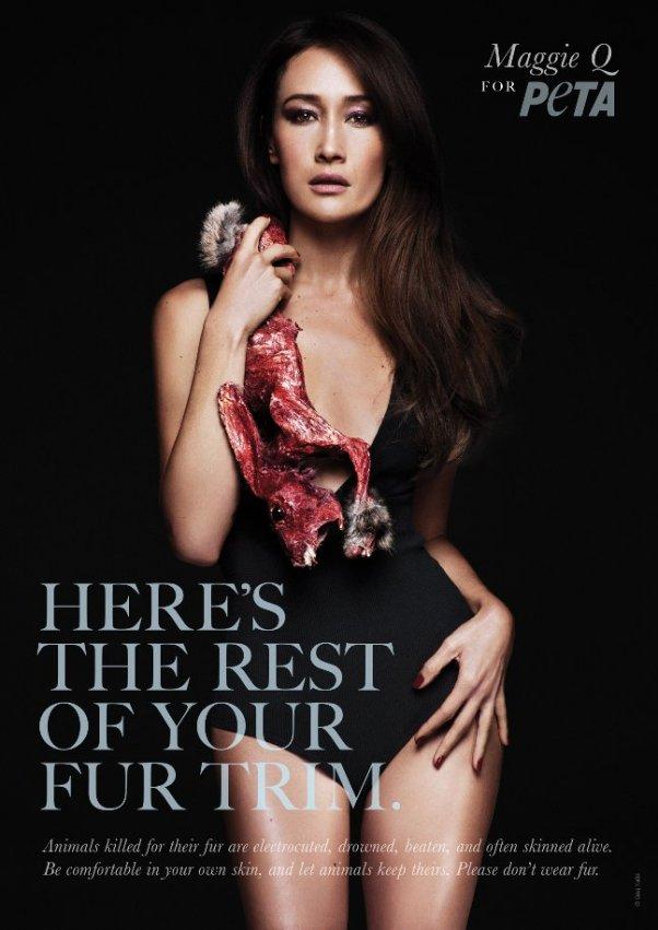 Maggie Q Anti-Fur ad - English text