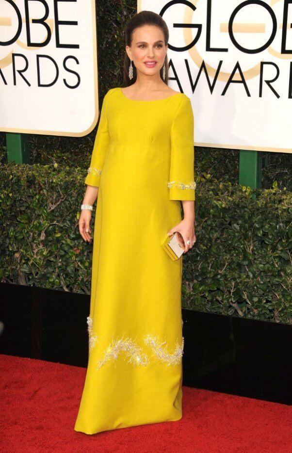 Natalie Portman pregnant in yellow dress