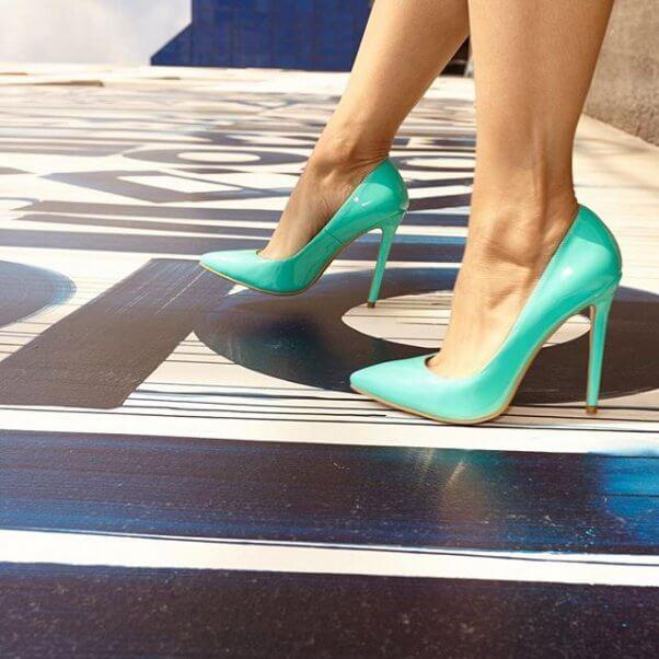 turquoise stiletto shoe