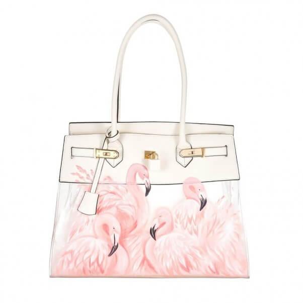 A Cute Vegan Handbag With Flamingos
