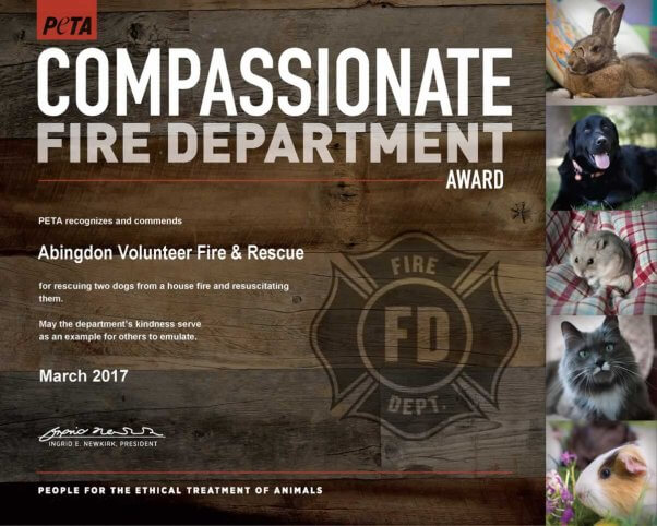 Compassionate Fire Dept Award given to Abingdon Fire Dept. for rescuing two dogs