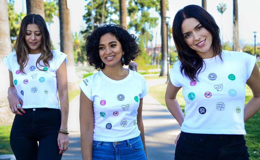3 PETA models wearing In the Soulshine crop top