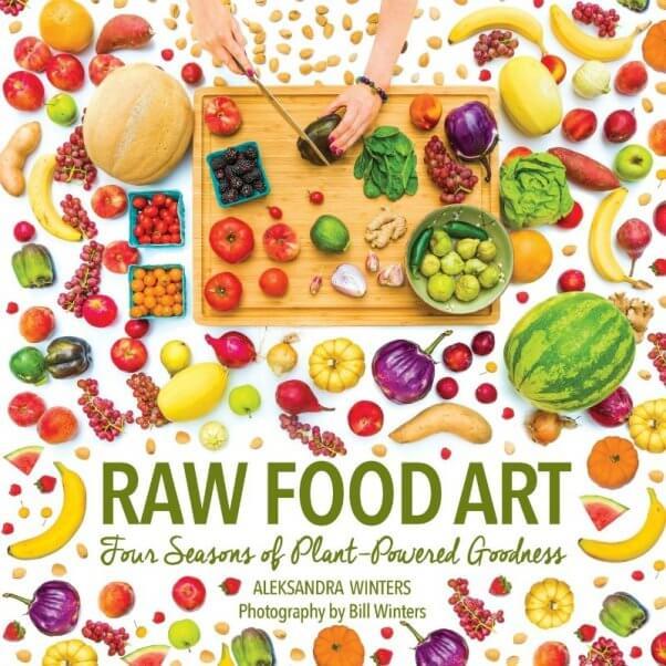 Cover of a vegan cookbook called Raw Food Art