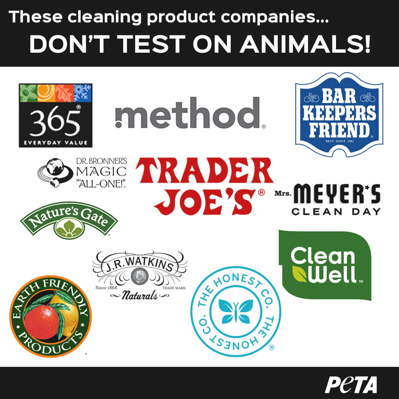 cleaning cruelty peta spring animals clean conscience test companies madness method seeds kindness cleansers supply