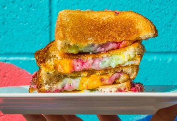 unicorn rainbow grilled cheese vegan sandwich