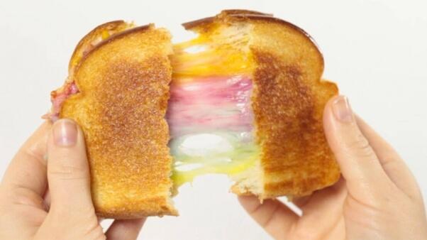 stretchy daiya rainbow grilled cheese sandwich