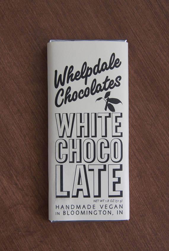 Vegan white chocolate bar by Whelpdale