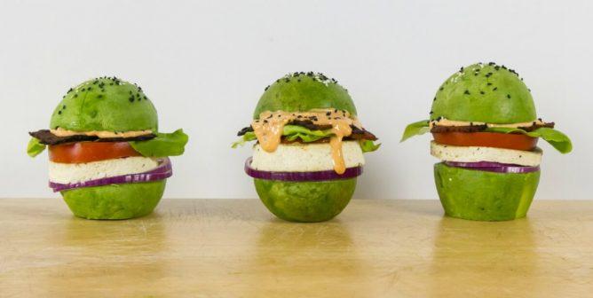 Vegan Breakfast Idea: Stacked Avocado Bun Burger