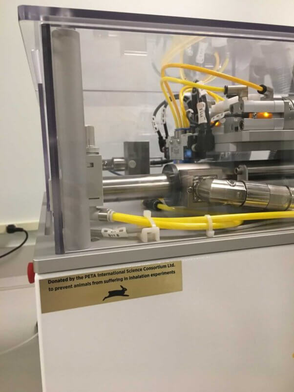 Vitrocell Inhalation Testing Machine Donated by PETA with PETA plaque and logo