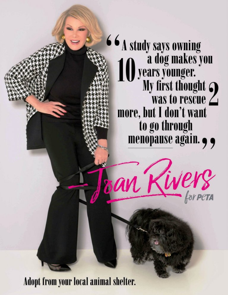 Joan Rivers and dog with text