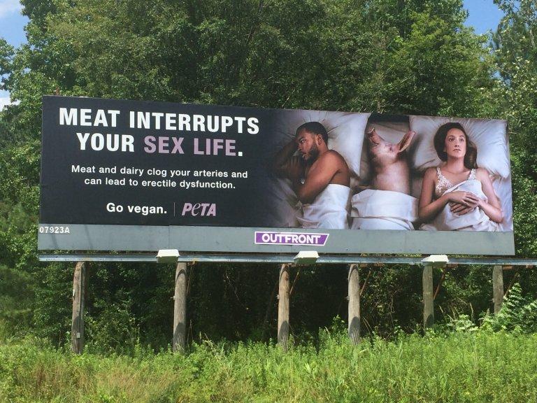 Meat Interrupts Your Sex Life Peta Billboards Warn Drivers