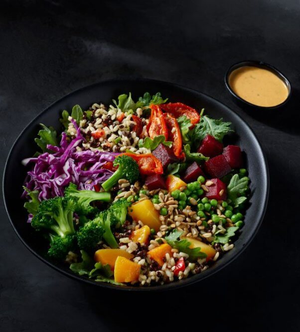 vegan at starbucks - lentils and vegetables
