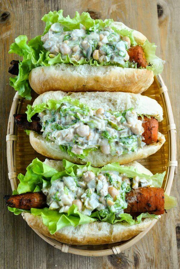 9 creative vegan hot dog recipes and topping ideas peta for Bar food vegetarian