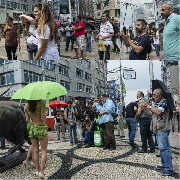 collage of people gathering in front of the Lettuce Ladies in Istanbul