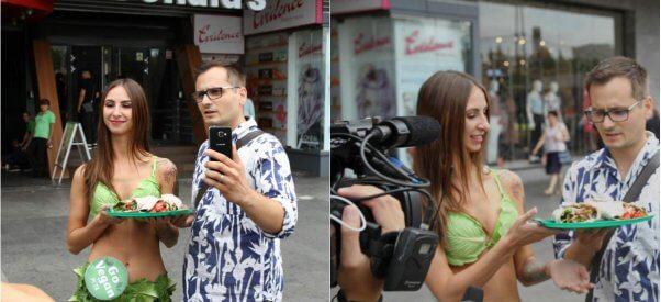 Lettuce Lady and fan meet in Bucharest