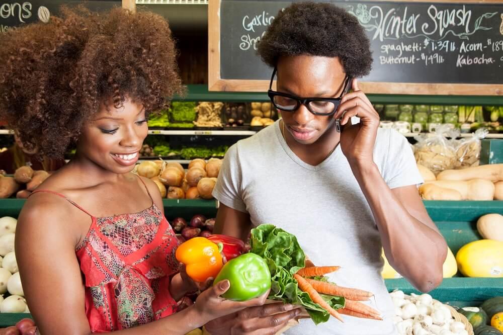 african peta american vegans couple buying food young vegetables vegan grocery supermarket eat blackdoctor further fad gluten fact dollars dairy