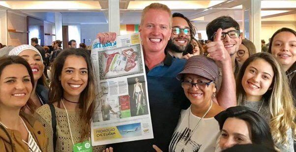 Dan Mathews, Brazil, VegFest, meat tray demo, front page of newspaper