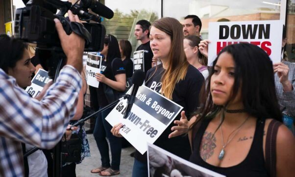 PETA representatives interviewed outside Bed Bath & Beyond