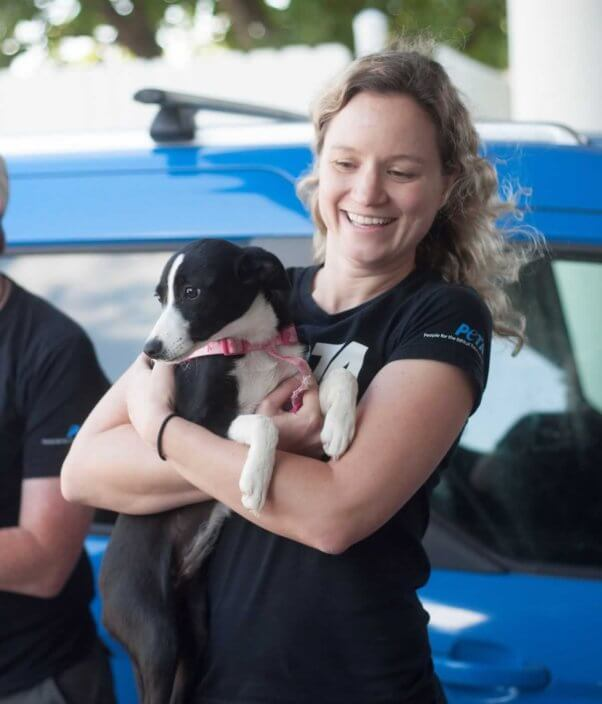 PETA staffer holding black-and-white female dog