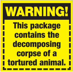 stick em with the truth about meat with free warning label