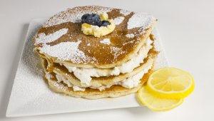 Layered Blueberry 'Ricotta' Pancakes
