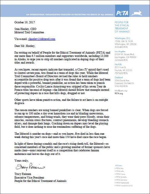 iditarod dogsled race, drugging dogs, peta letter, pdf