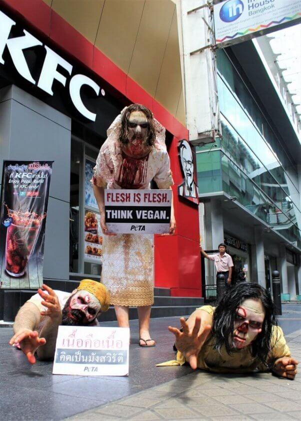 peta asia pacific zombie demo, flesh is for zombies, kfc