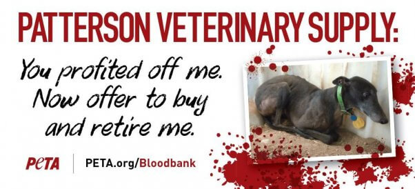 PETA billoard asking Patterson Veterinary Supply to retire abused greyhounds