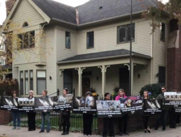 Protesters surrounding home of Patterson Vet Supply president's house