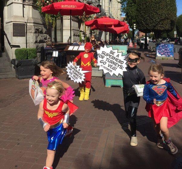 superheroes, kid demo, thanksgiving, turkeys