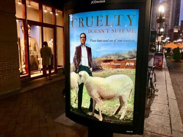 joaquin phoenix billboard, wool billboard, wool free winter