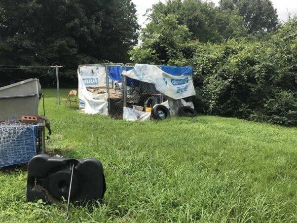 Backyard pen covered in tarps