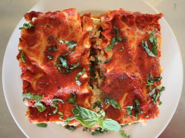 popular vegan recipes 2019 - tofu spinach lasagna