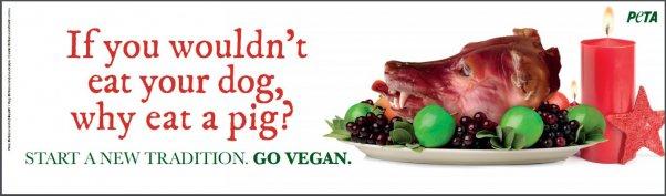 peta roasted dogs head billboard, holiday ad, vegan ad