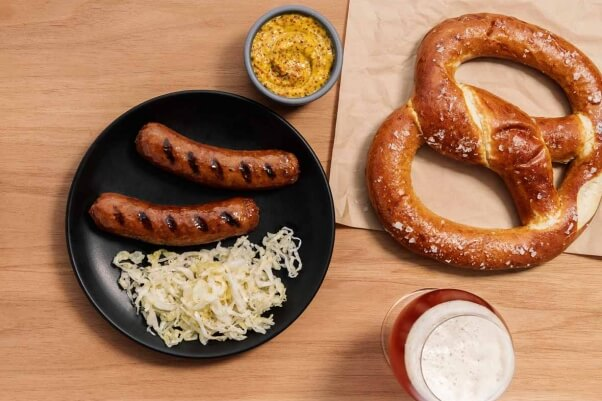 cooked Beyond Meat vegan sausage