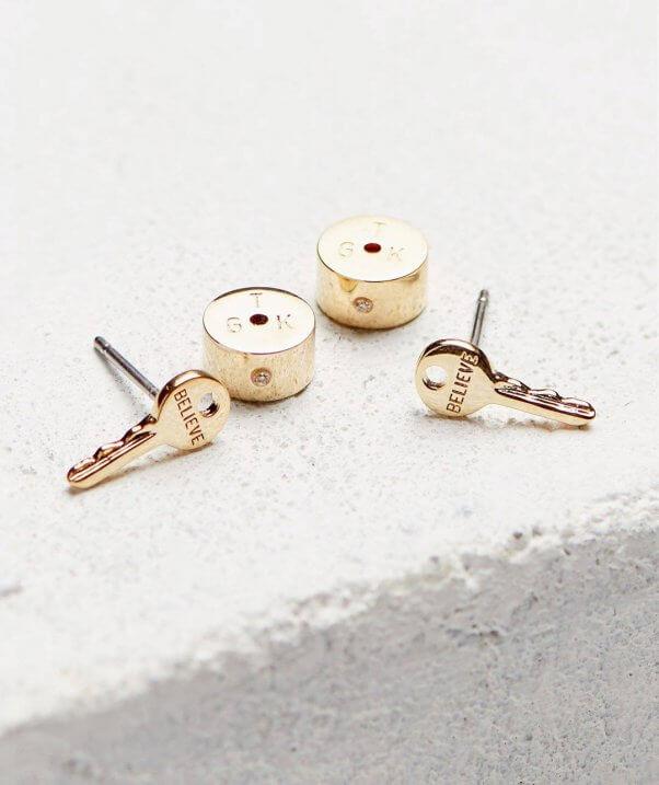 key post earrings by giving keys