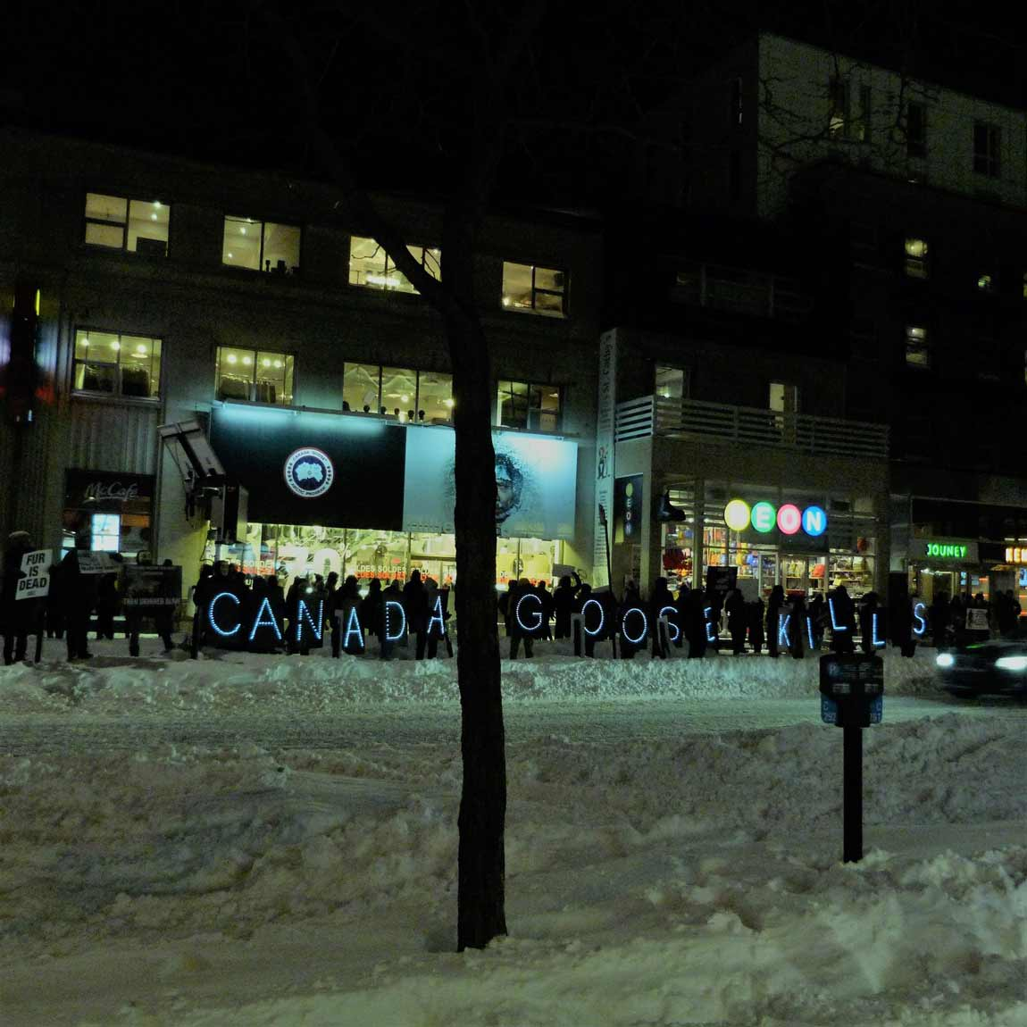 lighted signs at a peta protest in montreal