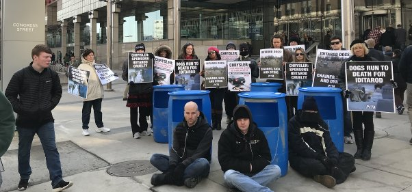 chrysler protest, chained dogs