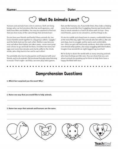 Valentine S Day Activity What Do Animals Love Peta