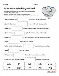 Then have students complete these worksheets to identify action verbs while learning cool facts about animals\u2014like how cows like to play hide-and-seek!