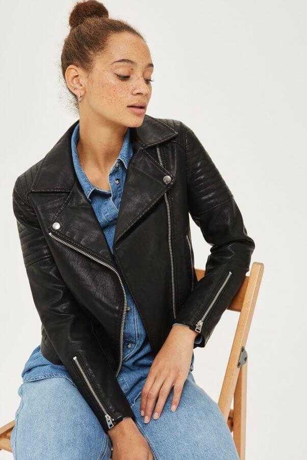 Model wearing vegan leather