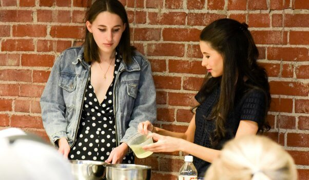 Chef Chloe Coscarelli and Harley Quinn Smith at cooking demo