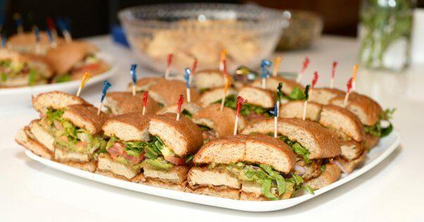 Tray of sandwiches at PETA Chloe Coscarelli event
