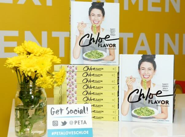 Display of copies of Chloe Flavor at PETA book signing event