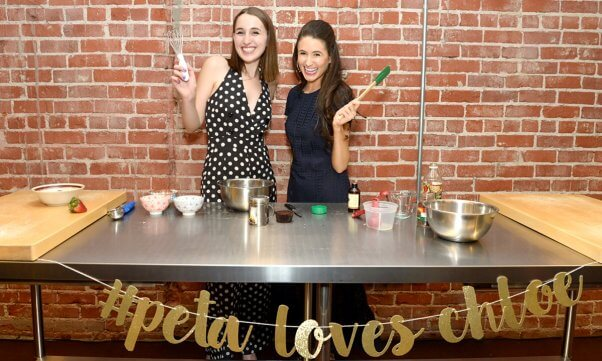 Chloe Coscarelli cooking demo with Harley Quinn Smith