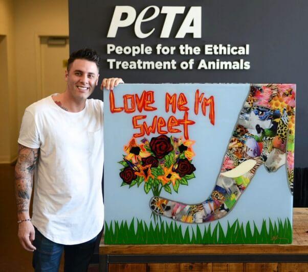 artist Daniel Mazzone at PETA's LA office