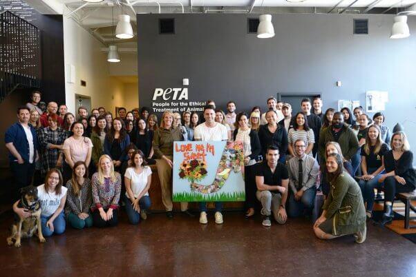 Canadian artist Daniel Mazzone and PETA Staffers in LA
