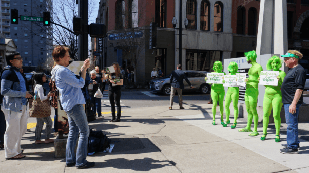 go green demo, body painted demo, peta-owned